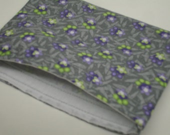Retro Purple Lime Gray Flowers Reusable Snack Bag