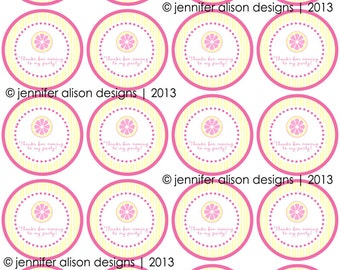 "INSTANT DOWNLOAD / Pink Lemonade Summer Party  2"" printable Party Circles /  Cupcake Topper / Stickers / Thank You Tags"