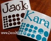 Two Personalized Custom Vinyl Name Decals with Dots