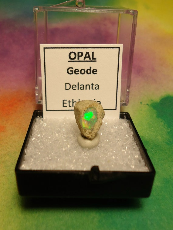 Sale OPAL GEODE Natural Rainbow Flash Desert Opal Gemstone In Perky Mineral Specimen Box From Ethiopia