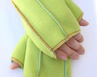 Lime Fleece Mittens, Xmittens Recycled Fleece Fingerless Gloves, Bright multicolored thread details, size MEDIUM