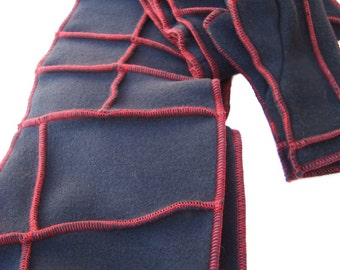 Black Fleece Scarf,  Recycled Fleece, Red thread details, made by xmittens on etsy