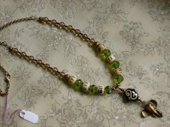 Brass Elephant Necklace in Ivory, Green, Topaz, Brass-Tribal, African Theme, Lucky Elephant