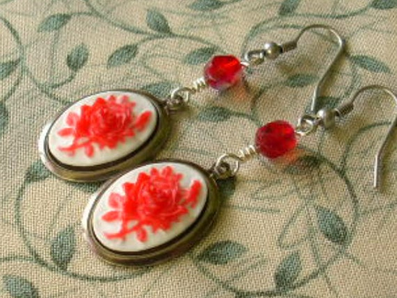 MOULIN ROUGE Red Rose Cameo Earrings Hypoallergenic Ear Wires