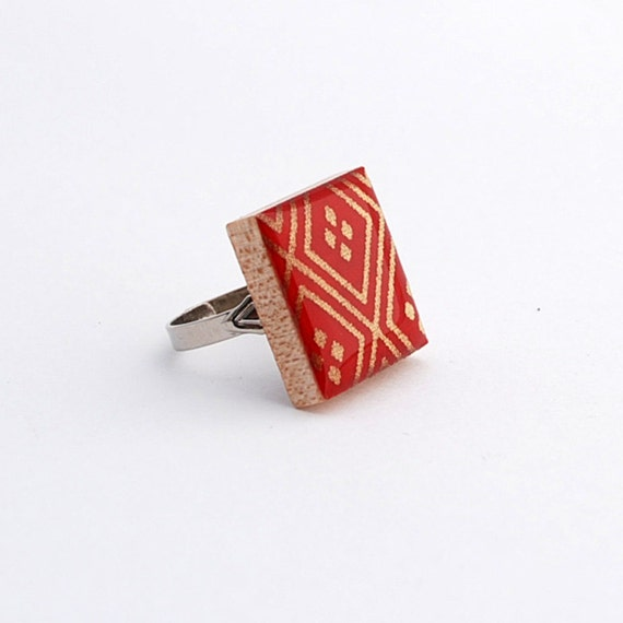 Recycled Scrabble Tile Ring -  Chinese New Year in Scarlet Red