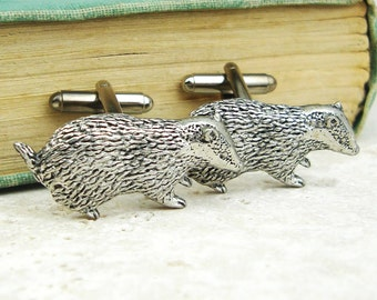 Badgers Cufflinks. Antiqued Silver Pewter Cufflinks