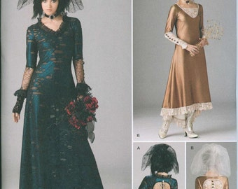 Steam Punk or Goth Sewing Pattern Simplicity 1772 Sizes 12-14-16-18-20 Lace Back Elegant Gown and Veil