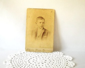 Vintage Photograph Cabinet Photo Antique Cab Card Paper Ephemera Twins Boy Sepia Black & White Photograph Instant Ancestors