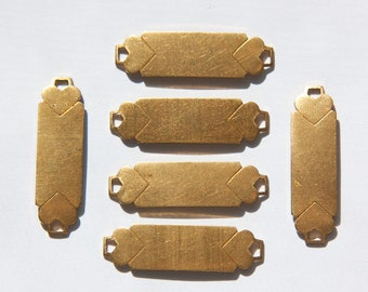 2 Loop Raw Brass 2 Heart Dapped Rectangle Connector (6) mtl341
