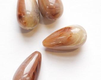 Vintage Acrylic Brown Marbled Teardrop Beads bds231B