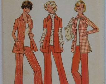 """1970s vintage original Simplicity 6805 sewing pattern women's shirt-jacket and trousers or pants Bust 37"""" and 39"""""""