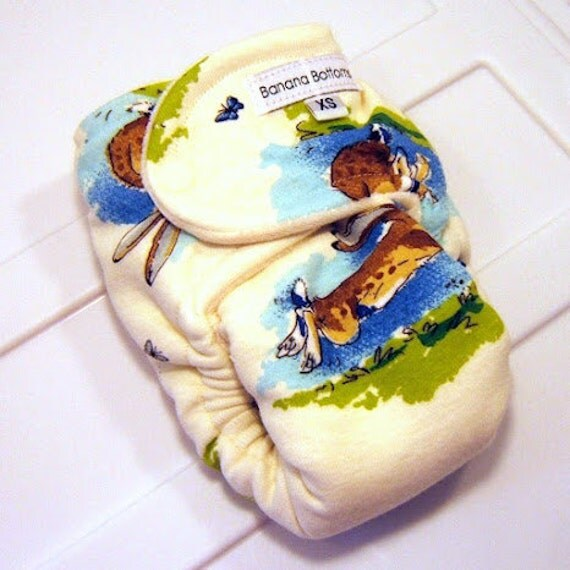 Hopping Bunnies Newborn Fitted Cloth Diaper with Bamboo Velour