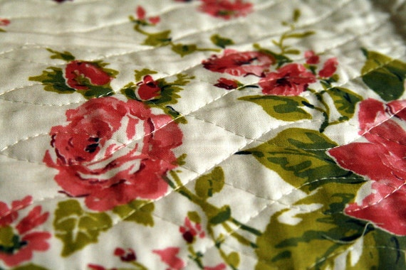 Vintage Fabric Pre-Quilted Rose Cotton Fabric Lot. Two Pieces Quilted Pillow Making Purse making Yardage