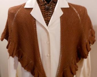 CHOCOLATE RUFFLED Scarf/Shawlette in Wool/Cashmere