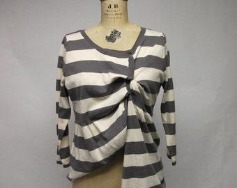 Assymetrical Stripey Cotton Cardigan Sweater
