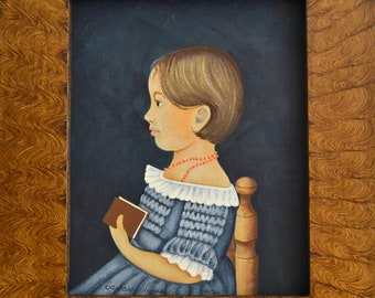 "The ""Mary Briggs""- Reproduction-my rendition of this Folk Art Portrait- originally by an unknown artist"