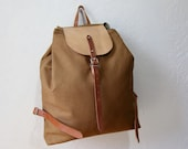 The Knapsack in Cinnamon Brown // Canvas and Leather Drawstring Backpack // Organic Cotton Lining // Day Pack