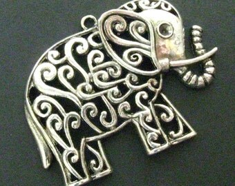 "Large Elephant Pendants, Charms - Set of 2 - 60mm x 50mm (2 5/8"" x 2"") Antique Silver Finish Charms (SC0044)"