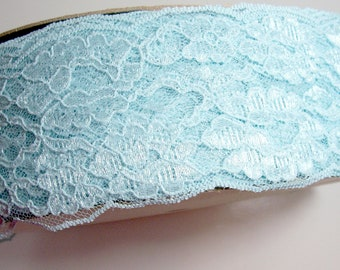 Wide Blue Lace, Aqua blue lace 3 1/2 inches wide x 3 yards, Robin's Egg Blue Lace