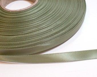 Green Ribbon, Single-faced olive green satin ribbon 3/8 inch wide x 10 yards