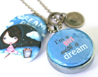 Dream Big Silver Locket - Custom Stamped Locket - Girl With a Dream - Magnetic Necklace by Polarity