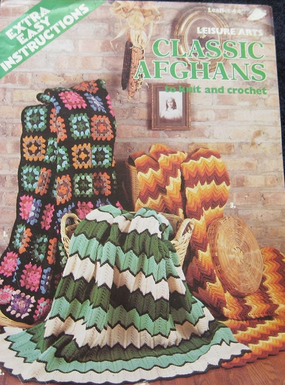 Leisure Arts Knitting Pattern Books : Classic Afghans Crochet Knit Pattern Book Leisure Arts