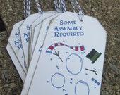 On Sale Some Assembly Required Christmas Gift Tags in Blue Set of 8 Snowman Winter Humor