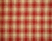 FLAWED Cotton Homespun Fabric | Plaid Fabric | Red Plaid Fabric | 1 Yard