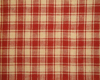 FLAWED Cotton Homespun Fabric | Plaid Fabric | Red Plaid Fabric | 26 x 44