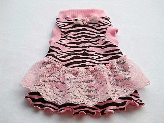 Reserved for Ada Pet Clothing Nightie Pink Zebra with Ruffles