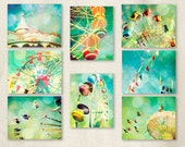 Carnival photography, nursery art, turquoise, ferris wheel, wall art, baby, circus, carousel by bomobob Fun Set 8 8x10 Photos