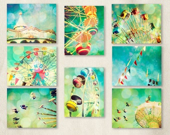 Carnival photography, nursery art, turquoise, ferris wheel, wall art, baby, circus, carousel by bomobob Fun Set 8 8x10 Photos