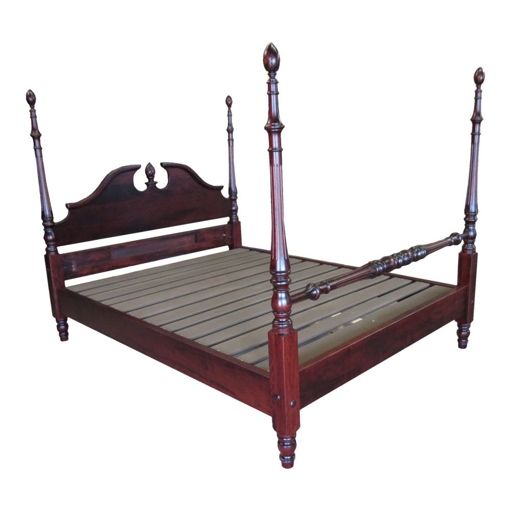 Cherry Queen Rice Carved Four Poster Platform Bed By