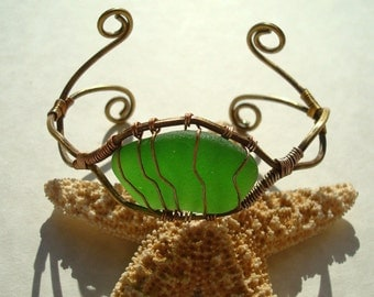Sea Glass Cuff Bracelet -Green Seaglass- Forged Brass Wire Wrap -Whimsical Jewelry