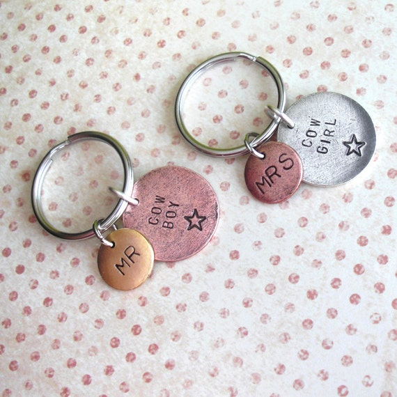 MR & MRS Keychains .. Cowboy and Cowgirl set .. Hand Stamped .. customize antiqued metal charm .. Round pendants in Copper, Silver or Gold