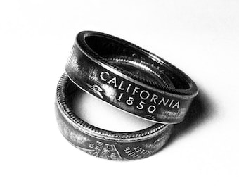 Handcrafted Ring made from a US Quarter - California - Pick your size