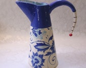 Delft Blue floral ceramic pottery Pitcher -or- Vase, fired delphinium tapestry pattern & whimsical stripe handle