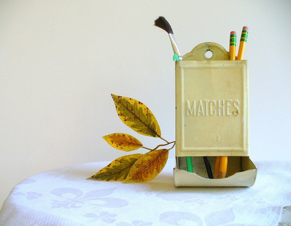 Vintage Match Pencil Holder Desk Accessory