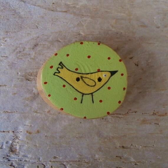 Sale - Little Yellow Bird - Wood Sewing Button - 33 mm - UK Supplies - International Shipping