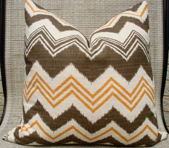 "18"" x 18"" brown, mustard and cream chevron print pillow cover"