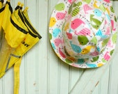 RESERVED Matroyshka Rain Hat - Rainy Day Style - Pink Blue Yellow Green Baby Chicks on White - Back to School