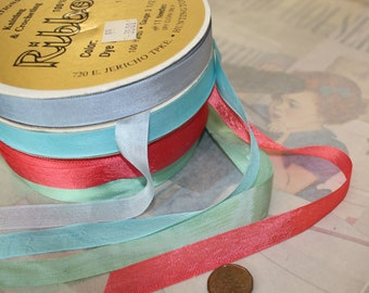 """Vintage Rayon Ribbon 1/2"""" Seam Binding in your colour choice for Scrapbooking, Dolldressing, Tags, 6 yd. VT006"""