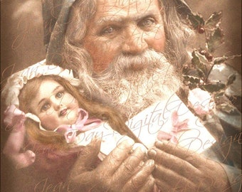Santa and Doll, French Postcard 1917 - Joyeoux Noel - Instant Download FC05