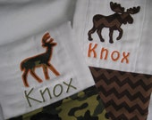 Chevron Moose and Camo Deer burp cloths with monogramming and personalization - Great baby shower gift for those hunters
