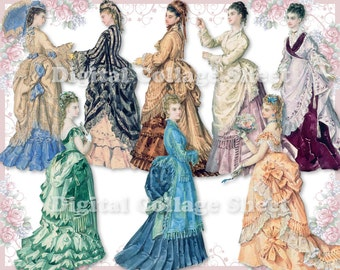Beautiful gowns 08 vintage ladies ATC ACEO scrap collage sheet paper doll png files
