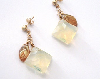 Pineapple Quartz Goldfilled Post Earrings, Aurora Borealis Leaf Dangle Drop Earrings