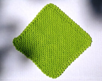 Lime Green Dishcloth Facecloth or Washcloth handknit in 100% Cotton Spa Cloth