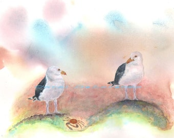 Watercolor Painting Bird Art, Bird Painting, Bird Watercolor, Bird Art Print, Seagull Art, Ocean Art Print Titled Seagull Lunch Date