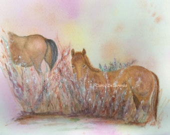 Watercolor Painting, Horse Art, Horse Painting, Horse Watercolor, Equine Art, Wild Horses, Watercolor Print Titled Wildflower Colt