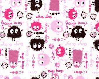 PINK n BROWN Ooga Booga, Cotton Interlock Knit Fabric, FQ
